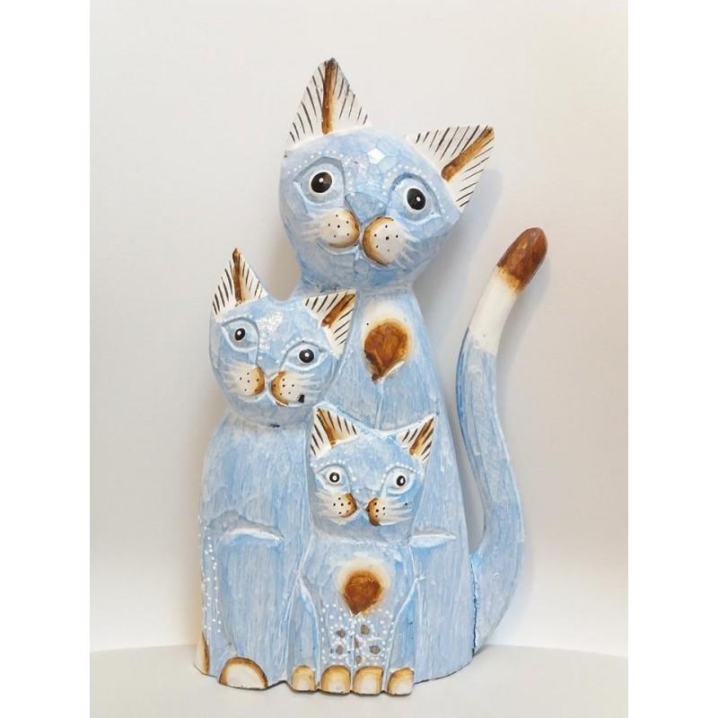 Gatti in legno madre con figli