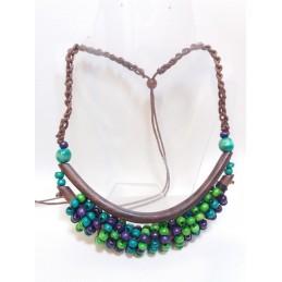 Collana 2 aste verde/viola