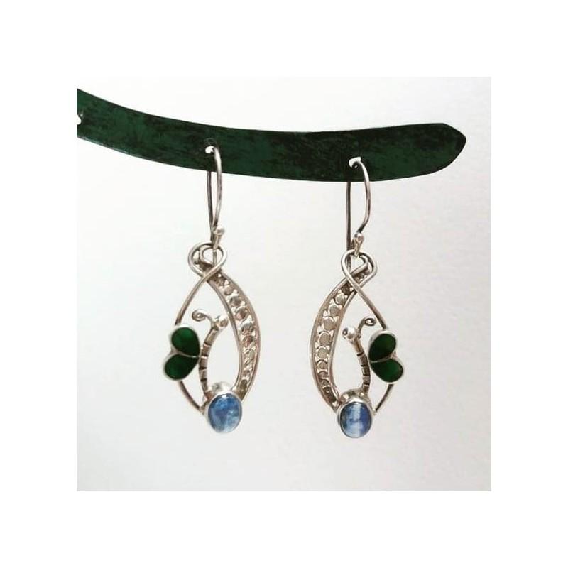 orecchini in argento con farfalla
