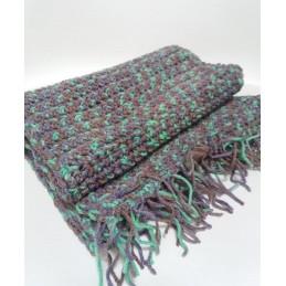 Sciarpa in lana viola/verde