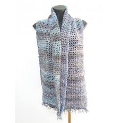 Sciarpa/scialle doppio filo grigio/blu/viola