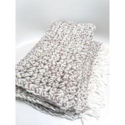 Sciarpa doppio filo grigio/bianco