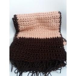 Sciarpa doppio filo rosa/marrone