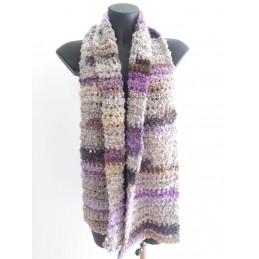 Sciarpa lana riccia grigio/lilla