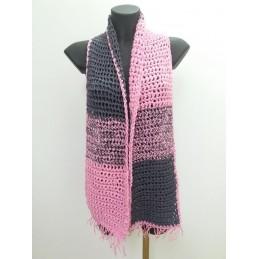 Sciarpa doppio filo grigio/rosa