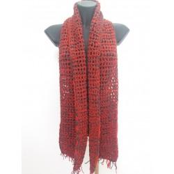 Sciarpa doppio filo grigio scuro/rosso