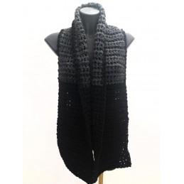 Sciarpa in lana spessa grigio/nero