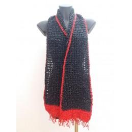 Sciarpa nera/rosso brillante
