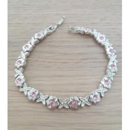 Bracciale in acciaio fiori rosa