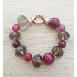 Bracciale in pietra rosa scuro