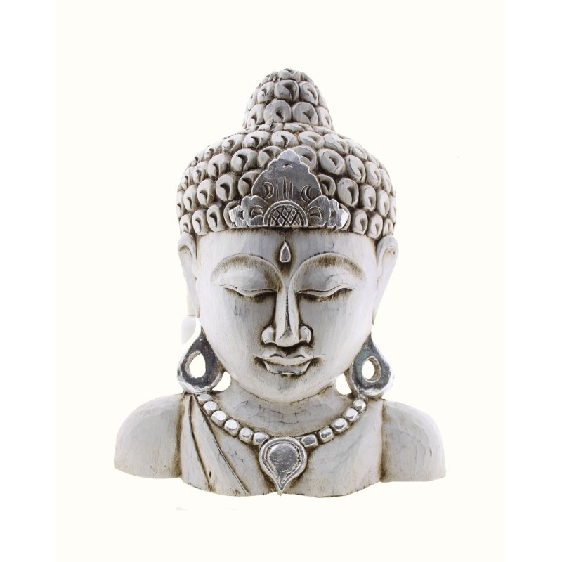 Buddha in legno decapato mezzobusto