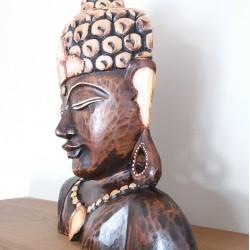 Buddha in legno scuro mezzobusto